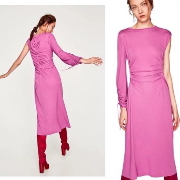 b5c0ab72 Zara Dresses | Gathered Cinched Asymmetric One Sleeve Dress | Poshmark